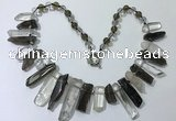 CGN190 8*20mm - 11*60mm white crystal & smoky quartz stick necklaces