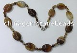 CGN216 22 inches 6mm round & 18*25mm oval agate necklaces