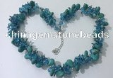 CGN420 19.5 inches chinese crystal & turquoise beaded necklaces