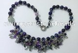 CGN487 21.5 inches chinese crystal & striped agate beaded necklaces
