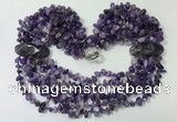 CGN756 20 inches stylish 6 rows amethyst chips necklaces