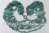 CGN764 20 inches stylish 6 rows turquoise chips necklaces