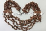 CGN766 20 inches stylish 6 rows goldstone chips necklaces