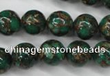 CGO105 15.5 inches 14mm round gold green color stone beads