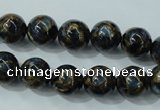 CGO163 15.5 inches 10mm round gold blue color stone beads