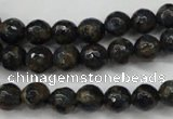 CGO173 15.5 inches 10mm faceted round gold blue color stone beads
