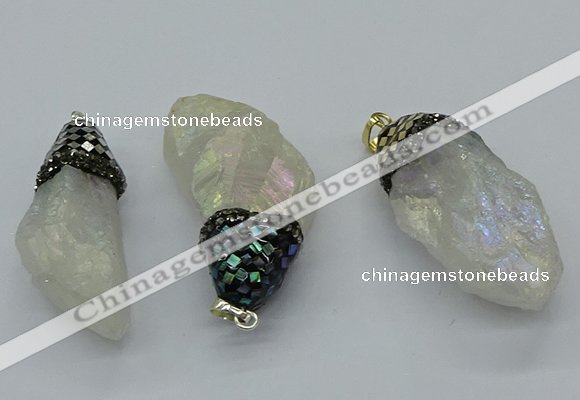 CGP3203 25*45mm - 28*50mm nuggets plated white crystal pendants