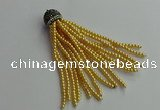 CGP678 3mm round handmade glass beaded tassel pendants wholesale