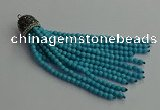 CGP684 4mm faceted round handmade turquoise beaded tassel pendants