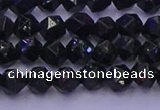CGS461 15.5 inches 6mm faceted nuggets green goldstone beads