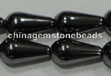 CHE148 15.5 inches 8*16mm teardrop hematite beads wholesale