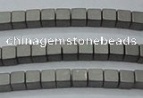 CHE440 15.5 inches 3*3mm cube matte plated hematite beads wholesale