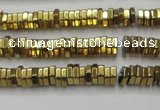 CHE835 15.5 inches 1*3mm hexagon plated hematite beads wholesale