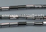 CHE905 15.5 inches 2*4mm faceted tube plated hematite beads wholesale