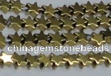 CHE938 15.5 inches 4mm star plated hematite beads wholesale