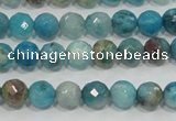 CHM211 15.5 inches 6mm faceted round blue hemimorphite beads