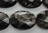 CHS16 15.5 inches 22*30mm faceted oval natural hypersthene beads