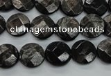 CHS18 15.5 inches 12mm faceted coin natural hypersthene beads
