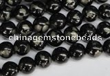 CJB151 15.5 inches 8mm round natural jet & pyrite gemstone beads