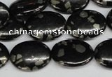 CJB160 15.5 inches 15*20mm oval natural jet & pyrite gemstone beads