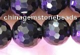 CJB202 15.5 inches 8mm faceted round jet beads wholesale