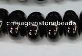 CJB50 15.5 inches 12*20mm rondelle natural jet gemstone beads