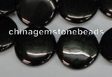CJB78 15.5 inches 20mm flat round natural jet gemstone beads
