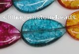 CKQ126 15.5 inches 20*30mm flat teardrop dyed crackle quartz beads