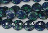 CLA412 15.5 inches 14mm flat round synthetic lapis lazuli beads