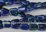 CLA425 15.5 inches 6*8mm rectangle synthetic lapis lazuli beads