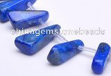CLA44 Freeform pyramid deep blue dyed lapis lazuli stone beads