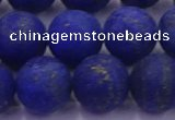 CLA75 15.5 inches 14mm round matte lapis lazuli beads wholesale