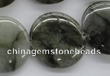 CLB138 15.5 inches 25mm flat round labradorite gemstone beads