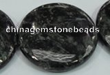 CLB315 15.5 inches 40mm flat round black labradorite gemstone beads