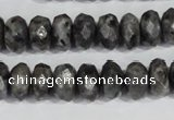 CLB322 15.5 inches 6*12mm faceted rondelle black labradorite beads