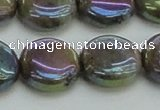 CLB637 15.5 inches 14mm flat round AB-color labradorite beads