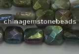 CLB686 15.5 inches 10mm faceted square AB-color labradorite beads