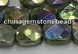 CLB688 15.5 inches 15mm faceted square AB-color labradorite beads