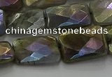 CLB698 15.5 inches 13*18mm faceted rectangle AB-color labradorite beads