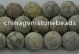 CLD203 15.5 inches 10mm round matte Chinese leopard skin jasper beads