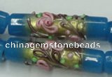 CLG788 15.5 inches 10*40mm cylinder lampwork glass beads wholesale