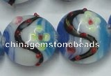 CLG818 15.5 inches 20mm flat round lampwork glass beads wholesale