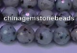 CLJ423 15.5 inches 10mm faceted round sesame jasper beads