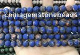 CLJ597 15 inches 8mm round matte sesame jasper beads