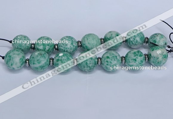 CLS302 7.5 inches 25mm faceted round large Qinghai jade beads