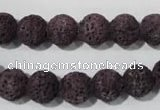 CLV477 15.5 inches 10mm round dyed purple lava beads wholesale