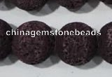 CLV481 15.5 inches 18mm round dyed purple lava beads wholesale