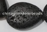CLV515 15.5 inches 30*40mm flat teardrop black lava beads wholesale