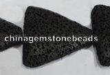 CLV53 15 inches 26*28mm triangle black natural lava beads wholesale