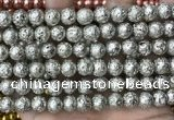 CLV540 15.5 inches 8mm round plated lava beads wholesale